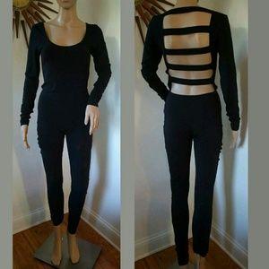 ASOS Black Open Back Long Sleeve Bodysuit Catsuit